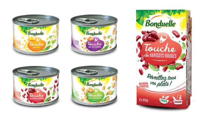 Bonduelle food cans and shelf packaging