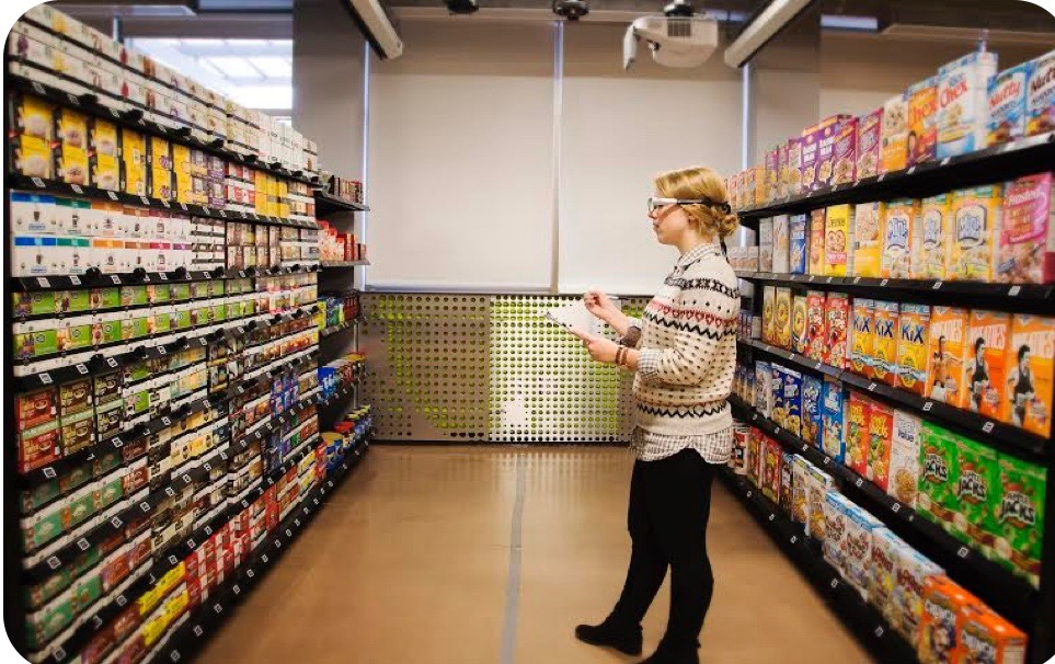 Clemson University eye tracking retail research study participant in a grocery store aisle
