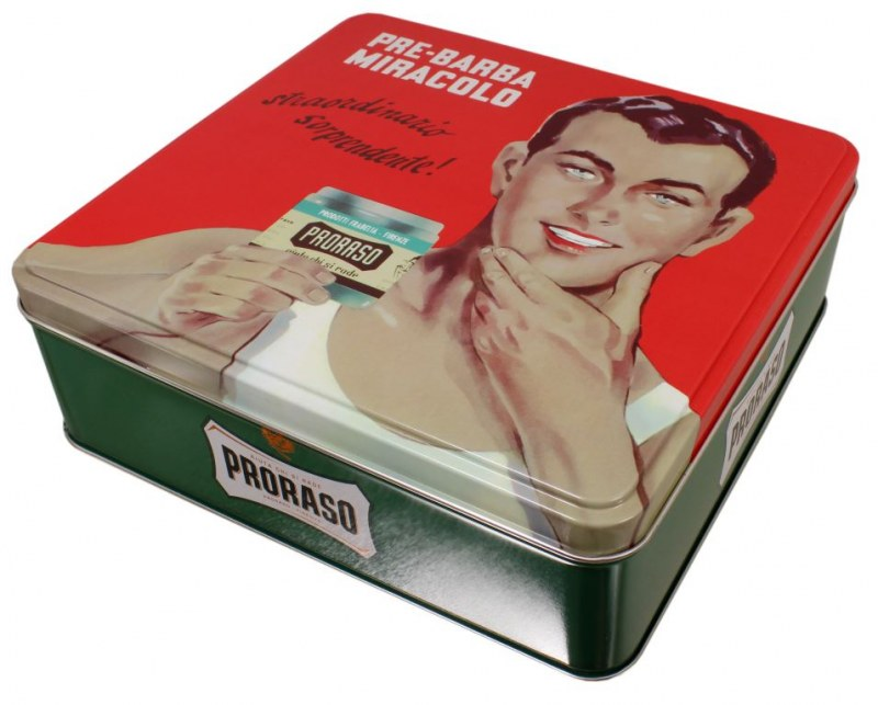 Square tin with a picture of a man holding his chin