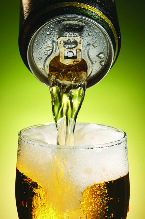Image of a beer can pouring beer into a glass