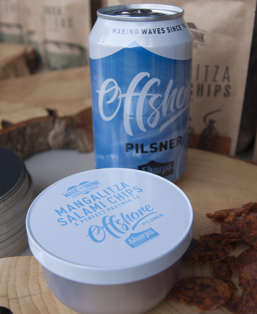 Blue and white food and beverage cans