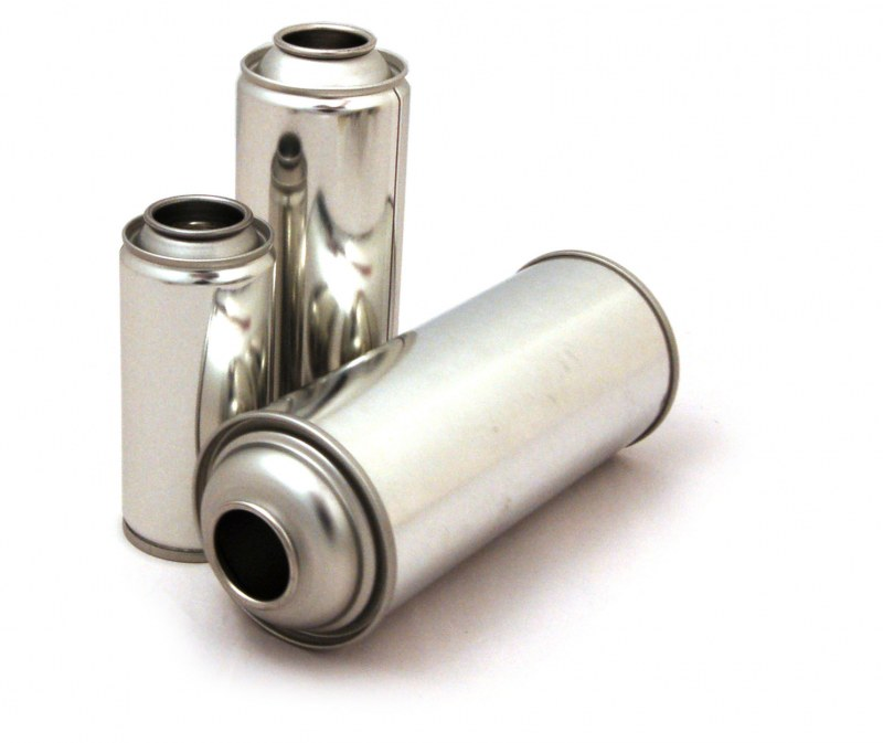 Silver aerosol cans with no labels