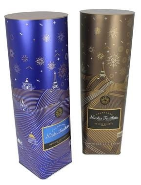 Gold and blue beverage packaging tins
