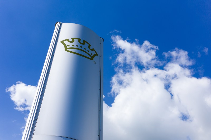 Crown logo against a cloudy sky
