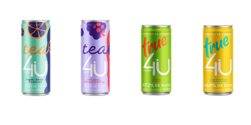 Four multi-colored beverage cans