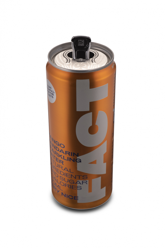 Orange beverage can with FACT written along the side