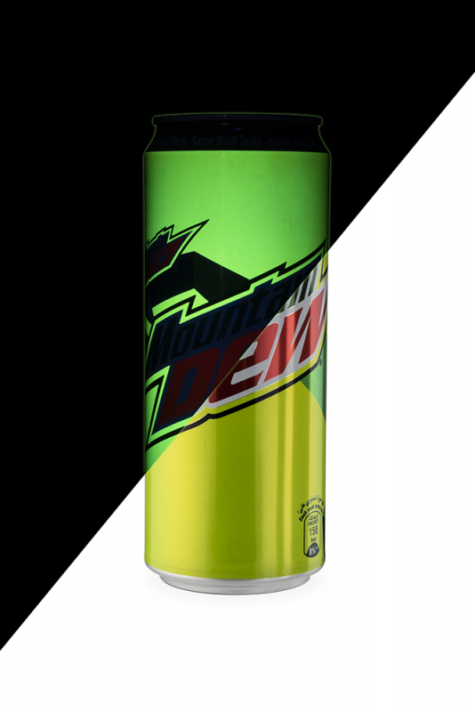 Neon green Mountain Dew can