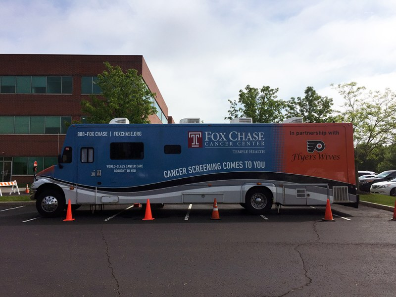 Picture of mobile breast cancer screening facility in a parking lot