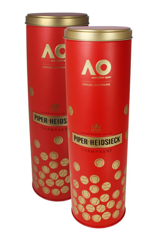 Red and gold packaging tins of champagne