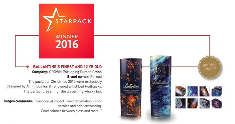 2016 Bronze Award for Ballantine's whisky specialty packaging