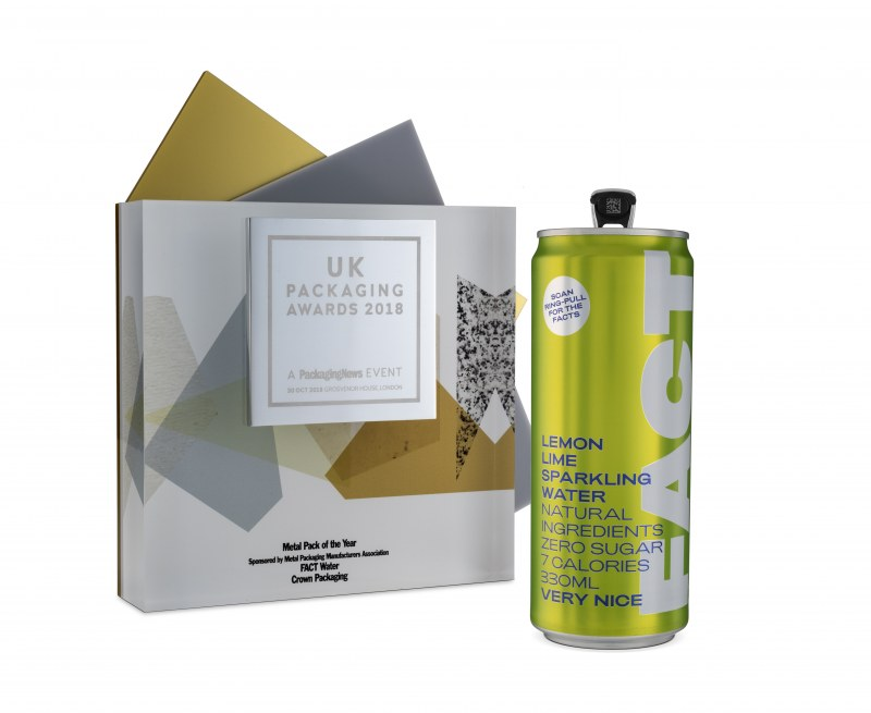 Lime green soda can next to UK Packaging Award