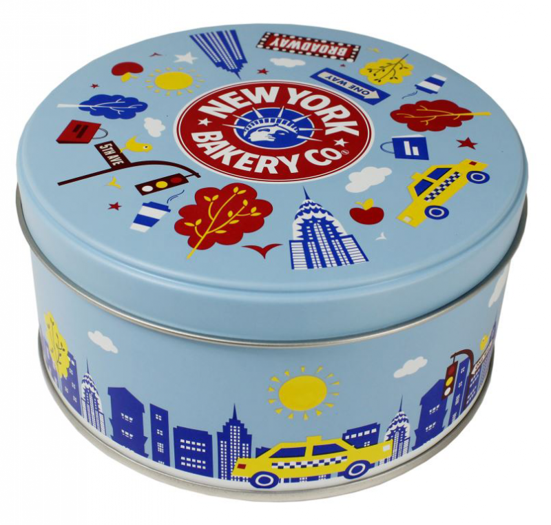 Light blue tin container with pictures of street signs, taxis, and buildings