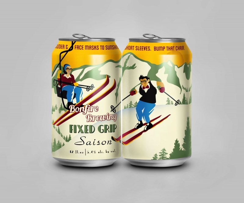 Craft brew cans with a picture of a person skiing down a mountain