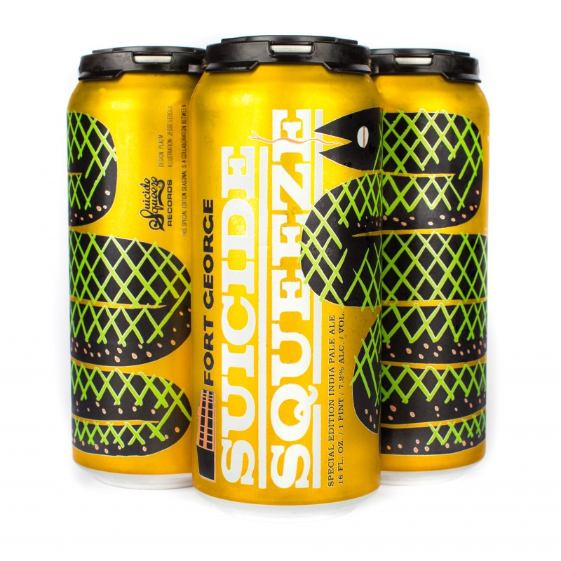 Yellow can with green snake along the side and white text that says Suicide Squeeze