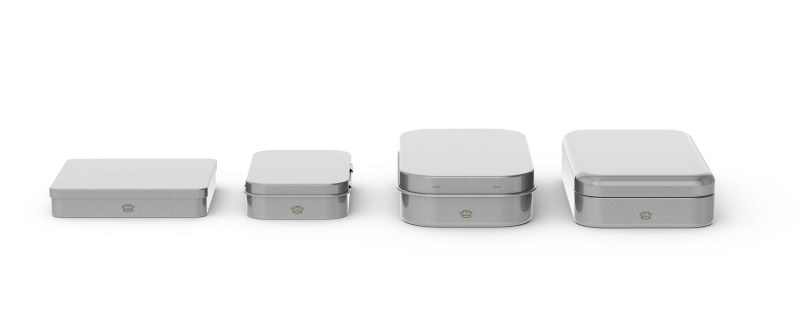 A line up of seamless tins