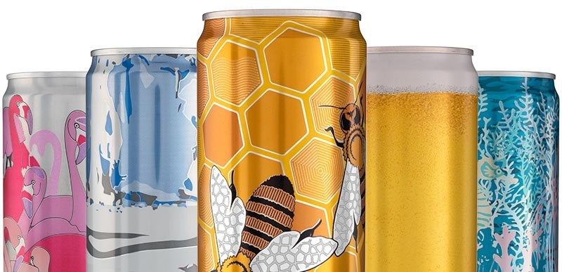 Examples of 5 beverage can finishes