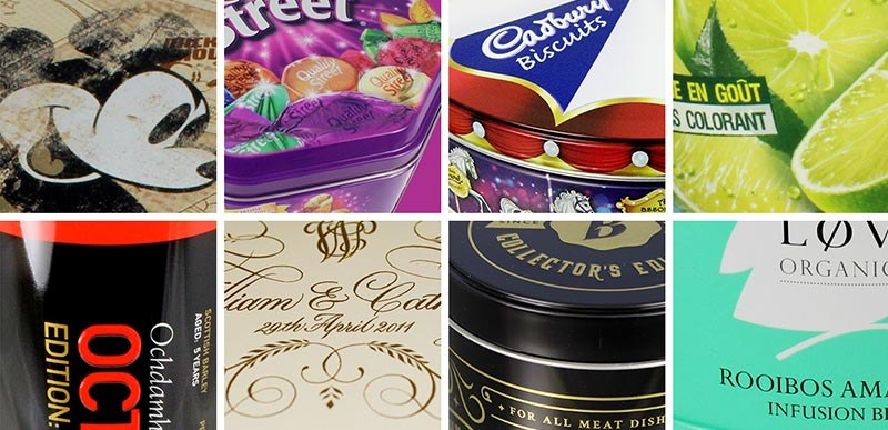 Collection of decorated promotional tins