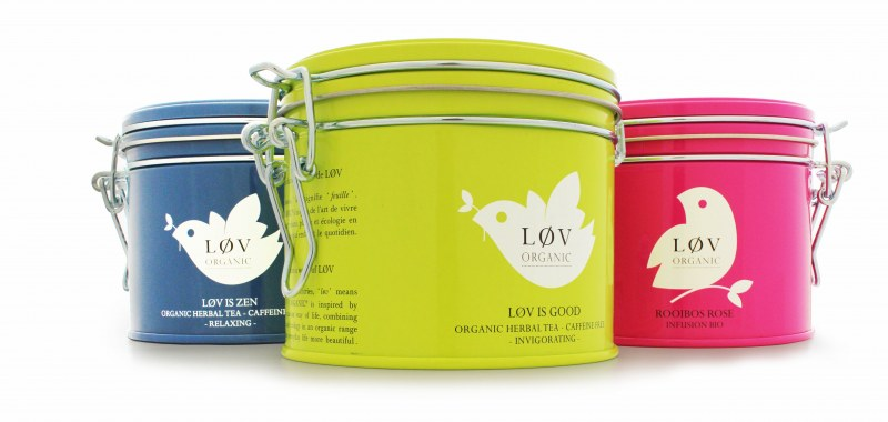 Løv Organic's premium tea range in tins manufactured by Crown