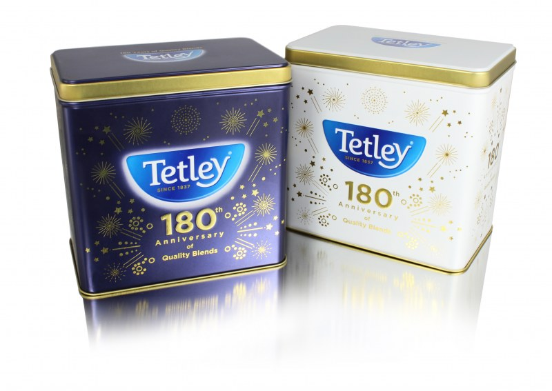 Tetley limited edition tea tin packaging