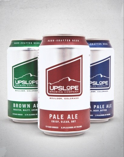 Three beer cans for Upslope Brewing
